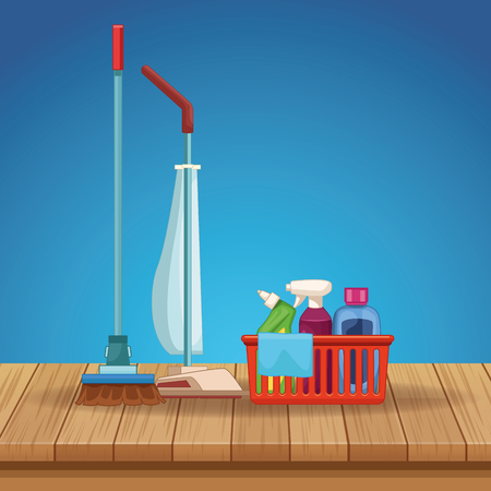 housekeeping cleaning elements prodcuts kit bucket with broom and mop with vacuum cleaner over wooden floor cartoon vector illustration graphic design