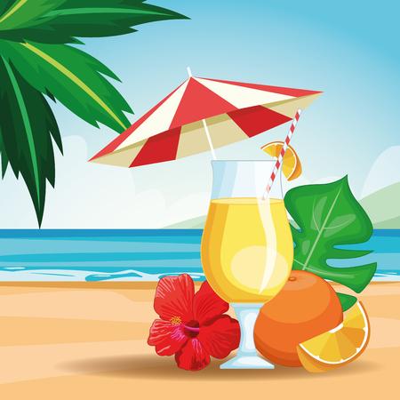 tropical drink with umbrella beach landscape icon cartoon vector illustration graphic design
