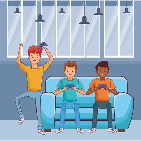 video game scene young men friends playing on couch cartoon  inside home with furniture scenery vector illustration graphic design