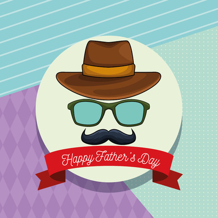 Happy fathers day card with glasses mustache and hat cartoon in round frame with ribbon banner vector illustration graphic design Çizim