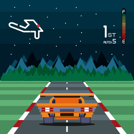 Retro videogame  screen arcade 2d racer cars night track background card  vector illustration graphic design