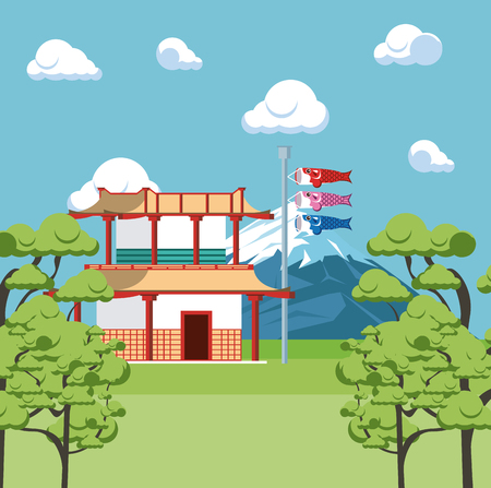 Japanese temple in nature with mountain scenery vector illustration graphic design