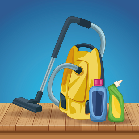 housekeeping cleaning elements products with vacuum cleaner over wooden floor cartoon vector illustration graphic design Vettoriali