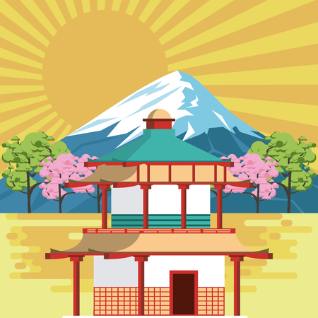 Japanese temple in nature with mountain vector illustration graphic design