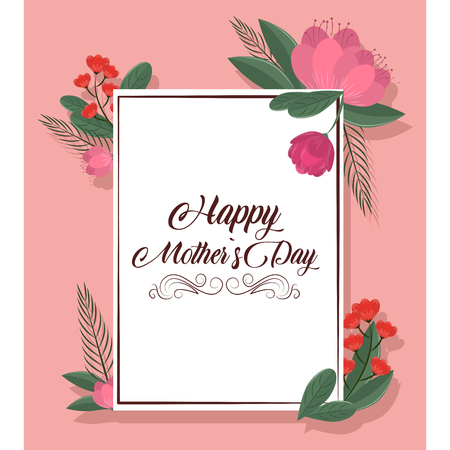 Happy mothers day pink card with flowers vector illustration graphic design Imagens - 122726929