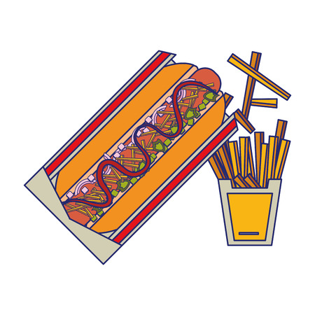 Fast food hot dog with french fries vector illustration graphic design
