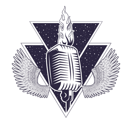 Rock and roll vintage microphone with wings drawings emblem vector illustration editable