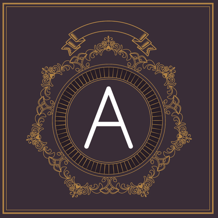 Vintage A letter font in round label with ribbon banner black and gold colors vector illustration graphic design