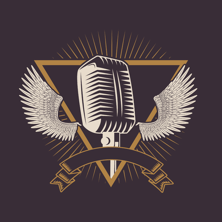 Rock and roll vintage microphone with wings drawings and ribbon banner emblem vector illustration editable Ilustrace