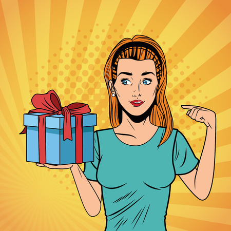 Pop art sexy woman holding and showing gift box with hands cartoon over yellow striped background Illustration