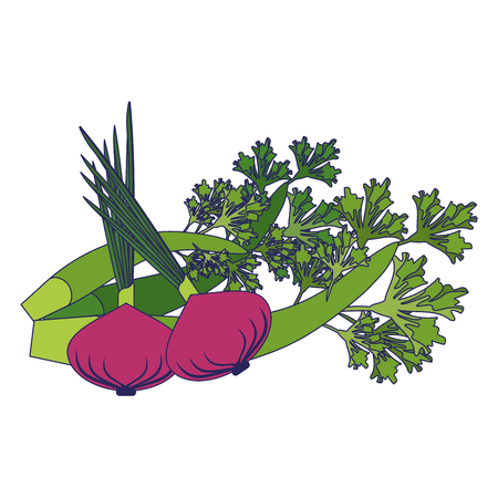 Fresh vegetables healthy food cartoon vector illustration graphic design Ilustração
