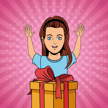 Pop art happy girl with arms up and birthday giftbox cartoon
