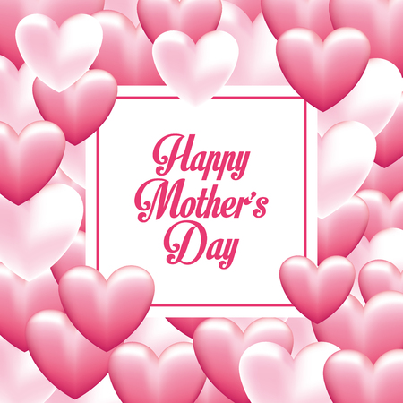 Happy mothers day card with pink hearts vector illustration graphic design