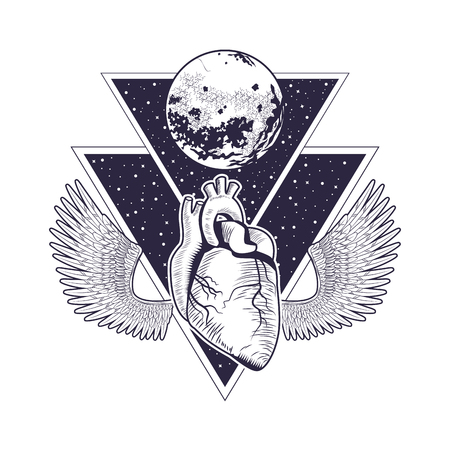rock and roll metal dark heart under moon with wings concept cartoon  vector illustration editable