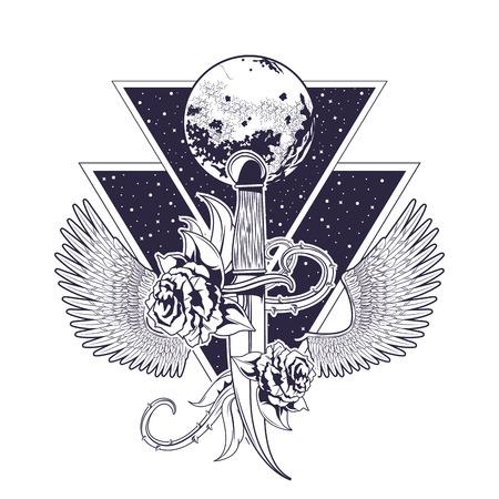 rock and roll metal dark dagger knife shield wings concept cartoon  vector illustration editable Illustration