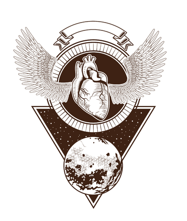rock and roll metal dark heart with wings ribbon banner concept cartoon  vector illustration editable Ilustração