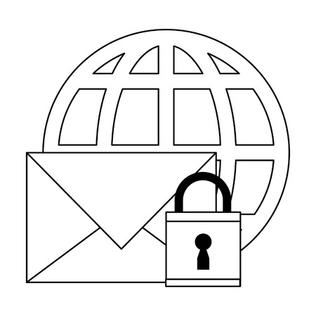 Email browsing security with padlock and globe vector illustration graphic design