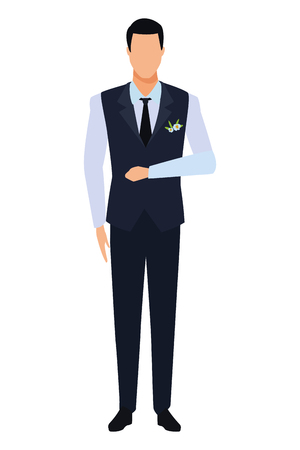 man wearing tuxedo avatar cartoon character with tie and waistcoat vector illustration graphic design