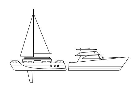 Sailboat ship marine travel vehicle machine sea exploration and yatch black and white vector illustration graphic design Ilustrace