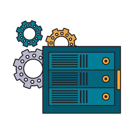 computer conexion and gears icon cartoon vector illustration graphic design Ilustrace