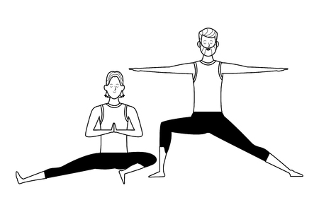 men yoga poses avatar cartoon character black and white isolated vector illustration graphic design Stock Vector - 122792267