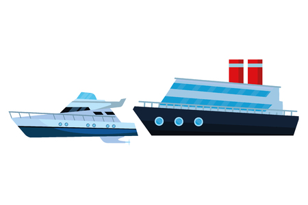 Luxury double decked yatch fast sea travel and exploration cruiseship vector illustration graphic design