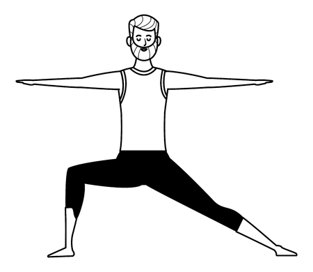 man yoga pose avatar cartoon character black and white isolated vector illustration graphic design Stock Vector - 122802368