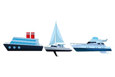 Sailboat ship marine travel vehicle machine sea exploration cruiseship and yatch vector illustration graphic design Vettoriali
