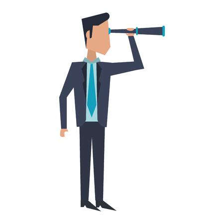 Executive businessman with telescope avatar vector illustration graphic design