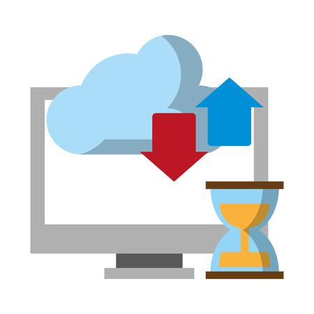 computer with hourglass and cloud transfer vector illustration graphic design