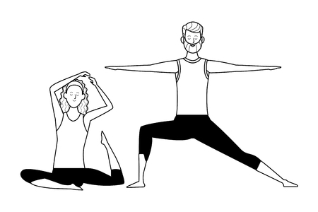 couple yoga poses avatars cartoon character with beard headband black and white isolated vector illustration graphic design Illustration