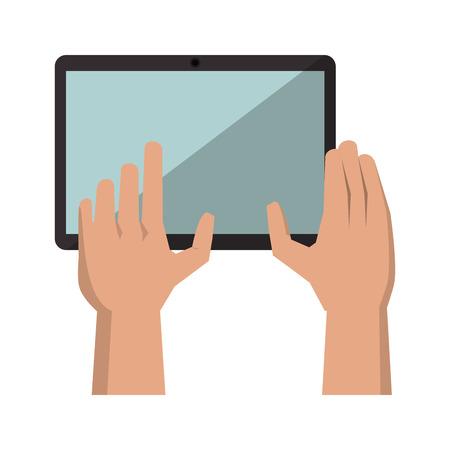 hands using tablet cartoon vector illustration graphic design