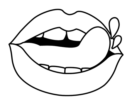 woman sexy lips icon isolated black and white vector illustration graphic design