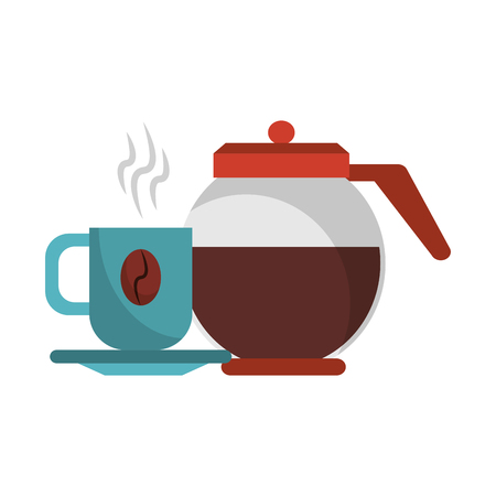 Coffee pot with coffee cup on plate warm with steam and bean vector illustration graphic desing 向量圖像