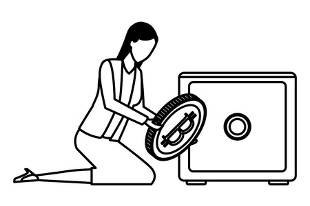 businesswoman with cryptocurrency safe deposit box icon cartoon black and white vector illustration graphic design