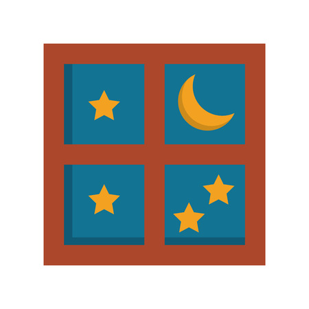 Night moon and stars through window cartoon vector illustration graphic design