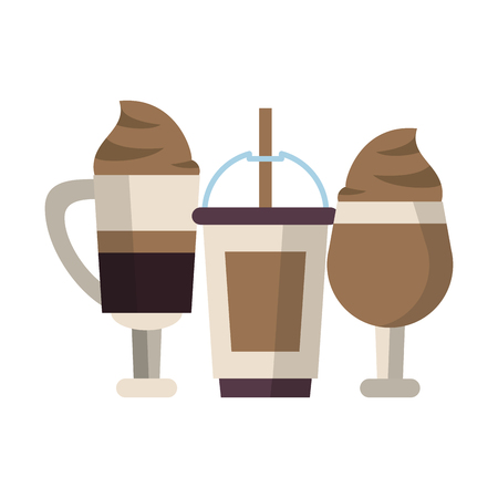 coffee cafe concept coffee shop elements ice drinks cartoon vector illustration graphic design