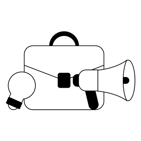 Business briefcase with bullhorn and bulb light vector illustration graphic design 向量圖像