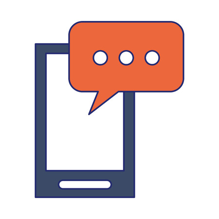 Smartphone with chat bubble symbol vector illustration graphic design