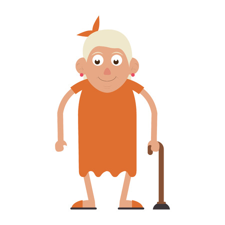 Elderly woman grandmother with a cane and dress isolated isolated vector illustration graphic design Illustration