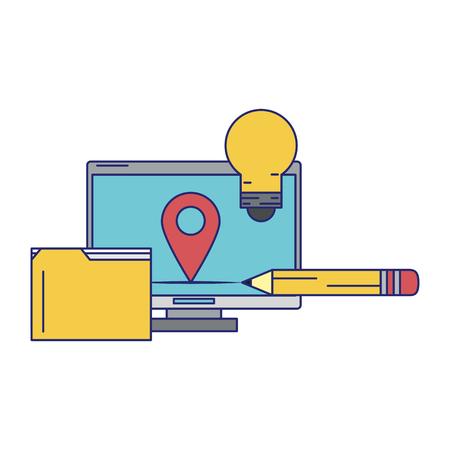 Computer mit Dokumentenordner und Glühbirne Symbol Cartoon isoliert Vektor-Illustration-Grafik-Design