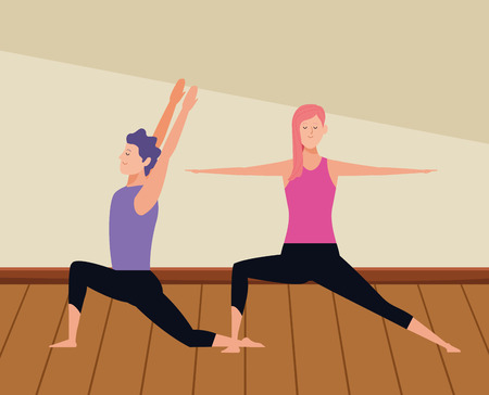 couple yoga poses avatars cartoon character indoor wooden floor vector illustration graphic design