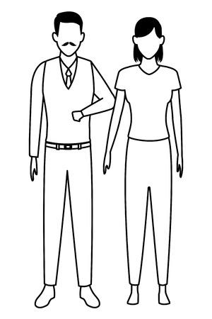 Alter Mann und junge Frau Avatar Cartoon Charakter Vektor Illustration Grafikdesign Vektorgrafik