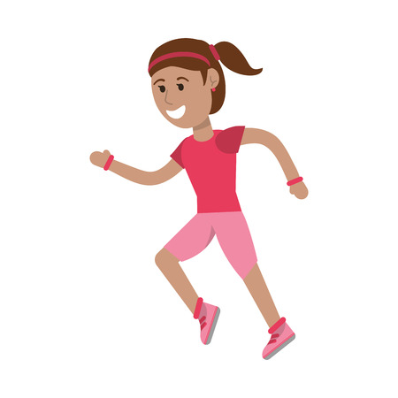 Athlete woman running cartoon isolated vector illustration graphic design