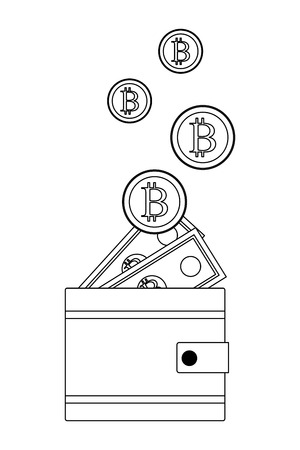 wallet with cryptocurrency bitcoin and money bills black and white vector illustration graphic design
