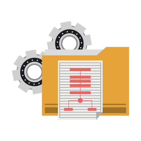 technology gears support with elements cartoon vector illustration graphic design  イラスト・ベクター素材