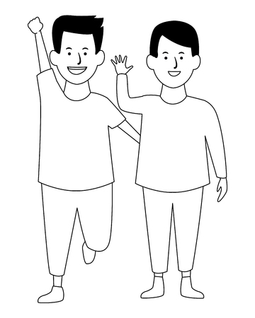 Two kids boys with ball smiling cartoons vector illustration garphic design