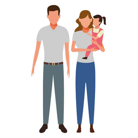family avatar cartoon character couple with child vector illustration graphic design Иллюстрация