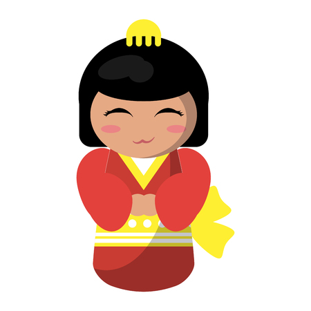 Cute japanese girl with kimono cartoon vector illustration graphic design 向量圖像