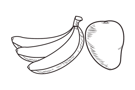 Fresh fruit nutrition healthy bananas and mango food and fitness diet options black and white vector illustration graphic design